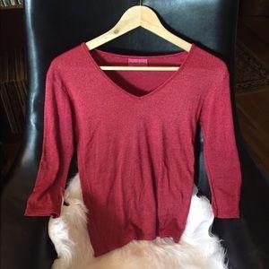 Michael Stars Shimmer Shirt 3/4 Sleeve Red